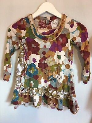 Cute Girls Next Fancy Floral Butterfly Detail Long Sleeve Top 7yrs🌸