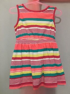 Lovely Baby Girls Blue Zoo Colourful Striped Print Summer Dress 12-18m🌸