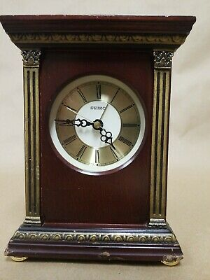 "Seiko 7"" Wooden Desk or Mantle Clock with Alarm Cherry Wood Gold Accents"