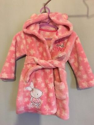 Lovely Baby Girls Soft Fleecy Bunny Dressing Gown Hood With Ears 6-12m🎀