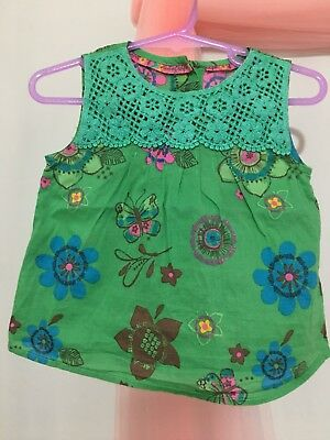 Cute Baby Girls M&S Autograph Green Floral Summer Top 6-9m🌺