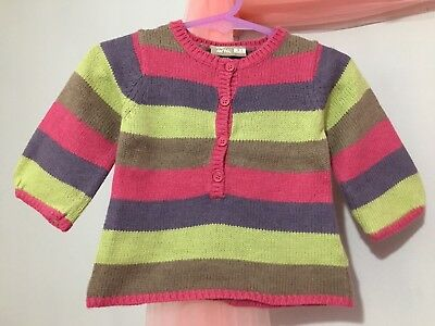Lovely Baby Girls French Designer DP AM Striped Knitted Style Jumper Top 3m🦄