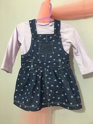 Baby Girls Blue Zoo Denim Floral Pinafore Dress & Lilac Top Outfit 6-9m🌸