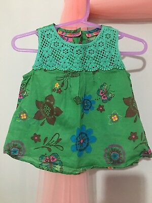 Cute Baby Girls M&S Autograph Green Floral Summer Top 3-6m🌺