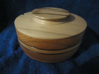 Hand crafted Tasmanian wooden Bowl incorporating 3 timbers with sassafras lid &