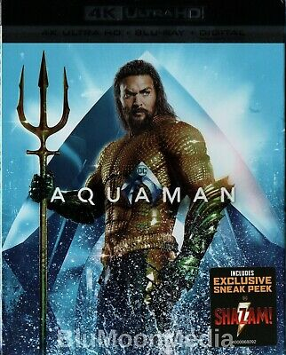 Aquaman BLU-RAY 4K Ultra HD + Digital w/ Slipcover Jason Momoa Brand NEW