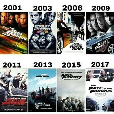 Lot/8/Dvd/The Fast And The Furious/1-8/Full Serie/Movies/Collection/No Case