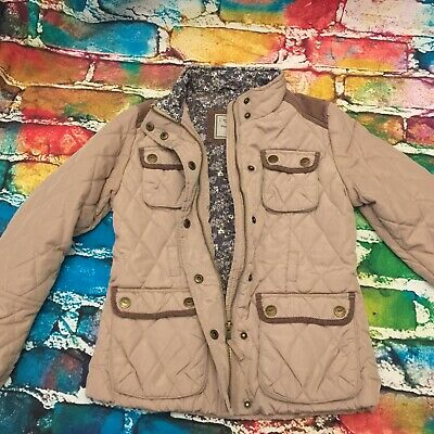 Girls NEXT jacket size 9-10 years beige quilted floral lining