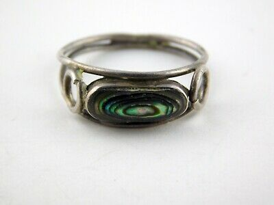 Vintage Taxco Mexico Abalone Shell Sterling Silver Ring 925 Size 5.25 1.5 Grams