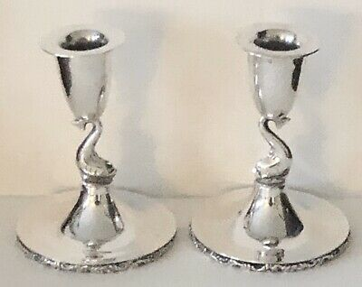 Vintage Mexican Sterling DOLPHINS Signed G H Mexico Candlesticks Candle Holders