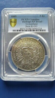 1885 SWITZERLAND Bern 5 Francs Silver Shooting Thaler PCGS XF Details Damaged