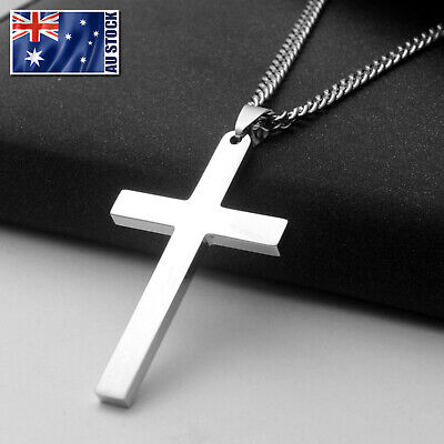 Stainless Steel Plain Silver Jesus Cross Crucifix Pendant Necklace 24""