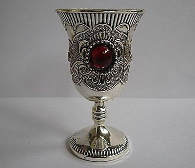 Chinese Collectable Tibet Silver Decorated Handwork Inlay Jade Wine Cup
