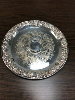 """Vintage International Silver Co 13 3/4"""" Round  Serving Tray Silverplated RARE"""