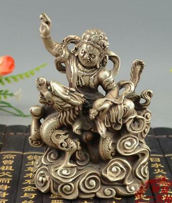 Old Tibet Buddhism Silver Ride Dragon White Jambhala Wealth God Buddha Statue
