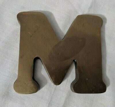 """Vtg Heavy Solid Brass Shop Letter I 10"""" Reclaimed Architectural Salvage MCM Sign"""