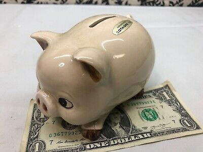 Vintage 1960's Japanese Ceramic Piggy Bank Otagiri Made in Japan Pig Coin Bank