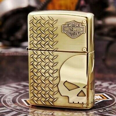 High Polished Gold Harley Davidson Cycle Skeleton Head Zippo Lighter - AU Stock