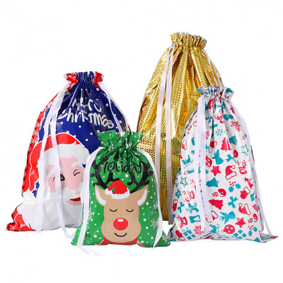 Amosfun Christmas Drawstring Gift Bags Wrapping Goodie Party Favors Wraps for Bi