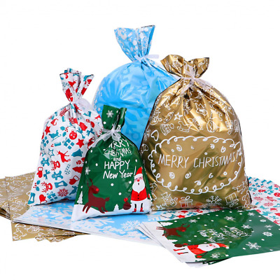 Amosfun Christmas Gift Bags Large Goody Wrapping Holiday Supplies (with Ribbons)