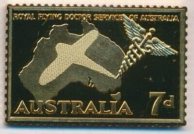 Australia: 1988 24ct Gold on Stg Silver Stamp $99.50 Issue Price - Flying Doctor