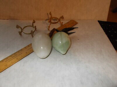 2 CHINESE CARVED HARDSTONE ORNAMENTS WITH STANDS. A FRUIT &  AN EGG. VGC's