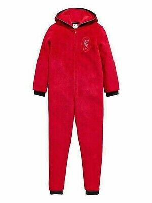 Kids Liverpool FC Hooded Fleece All In One Pyjamas Nightwear Boys Girls 3-12