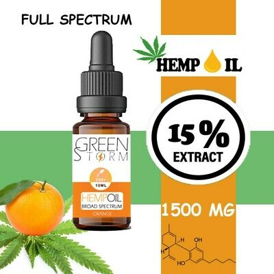 Huile de Chanvre BIO  Broad Spectrum 15% 1500 mg 10 ml Hemp Oil saveur Orange