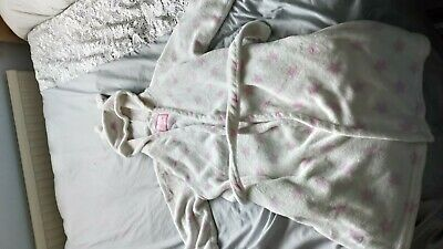 Girls age 11 -12 white dressing gown with pink stars and hood with ears