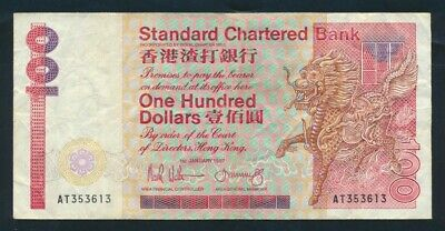 "Hong Kong: STANDARD CHARTERED BANK 1-1-1987 $100 ""Griffin at right"". Pick 281b"