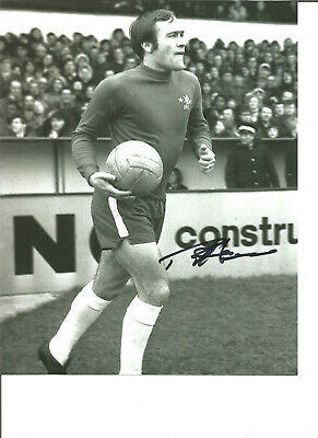 Football Autograph Ron Chopper Harris Chelsea FC Signed 10x8 in Photograph JM35
