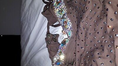 Stunning Freestyle Brown Dance Costume Swarovski Blue Crystal Age approx 12 year