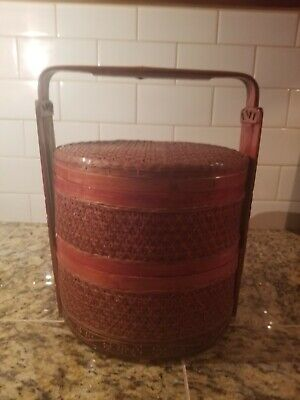 Antique Chinese Wedding Basket With Carved Handles
