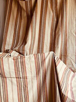 Antique French Ticking Fabric Vintage Red Pink Mattress Cover Panel /Furnishings