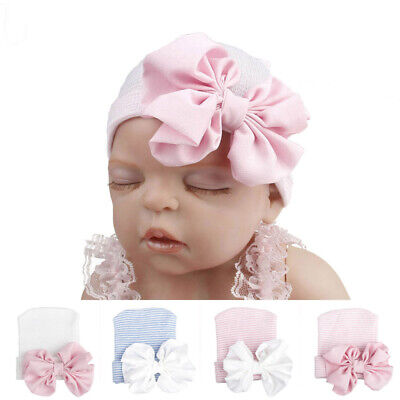 Baby Girl Newborn Infant Knitted Soft Hat with Chiffon Bow Tie Cap Striped Shiny