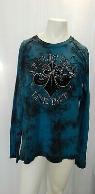NEW Affliction Live Fast Mens Large Black & Blue Long Sleeve Graphic T-Shirt NWT