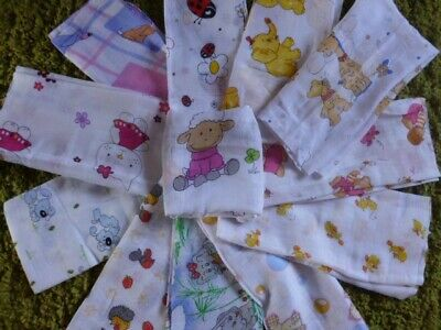 Large Printed Muslin Squares /Baby Bib /Reusable Nappy/Muslin Cloths 100% Cotton