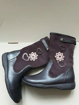 Clarks Girls School Boots Shoes Daisy Fun Game Plum Leather Suede. Size UK 12 F