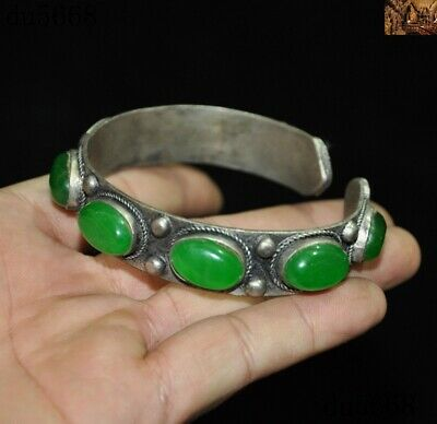 China palace dynasty silver inlay green gem Exorcism amulet bracelet Hand chain