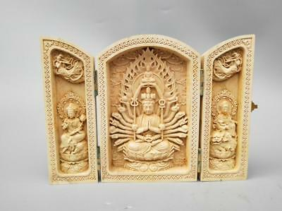 Chinese wood carving thousand hands guanyin Buddha statue