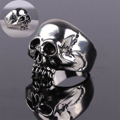 Ring Gothic Gift Biker Stainless Jewelry Men Skull Rock Vintage Band Steel Punk