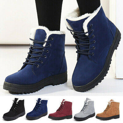 Women's Slip On Boots Winter Lace Up Ankle Flat Warm Faux Fur Casual Snow Shoes