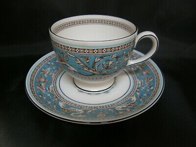WEDGWOOD Turquoise FLORENTINE bone china tea cup & saucer - 2 available