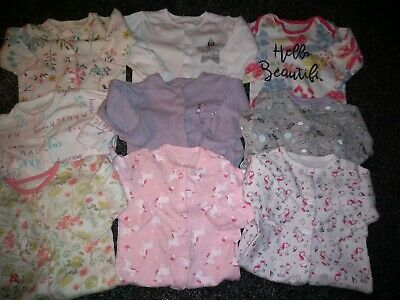 Baby Girls Bundle Of 9 Sleepsuits 0-3 Months Very Good Condition