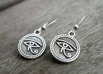 Antique Silver Eye of Horus Eye of Ra Earrings Silver Ear Hook ancient Egyptian