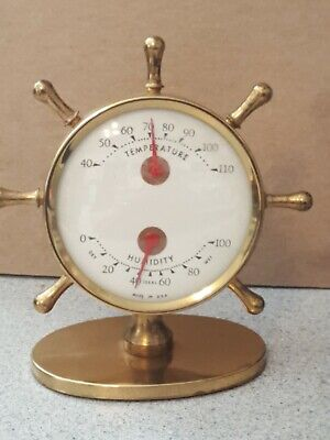 Nautical Brass Desk Thermometer / barometer Made in USA