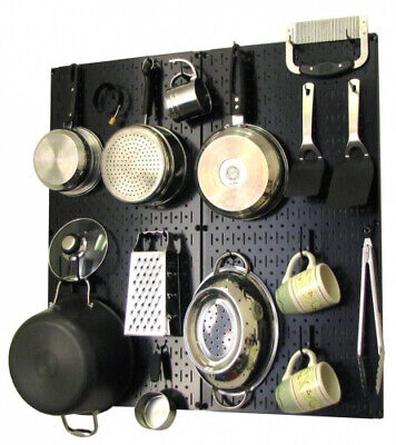 (Black/Black) - Wall Control Kitchen Pegboard Organiser Pots and Pans Pegboard