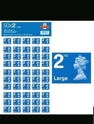 50x4 Royal Mail Second Class Large Letter Size 2nd Class 200 Stamps