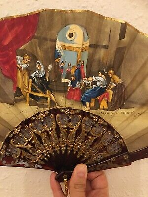 Very Beautiful Antique Hand Fan Painted & Signed , Fable Of Arachne Painting