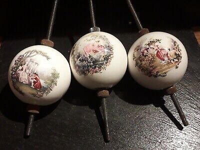 3 Antique Porcelain Transfer Print Finials